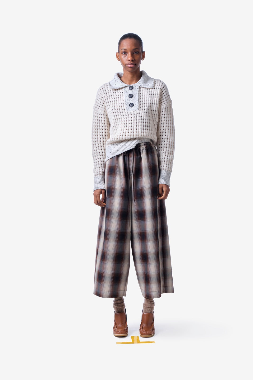 Blended Check Cropped Trousers