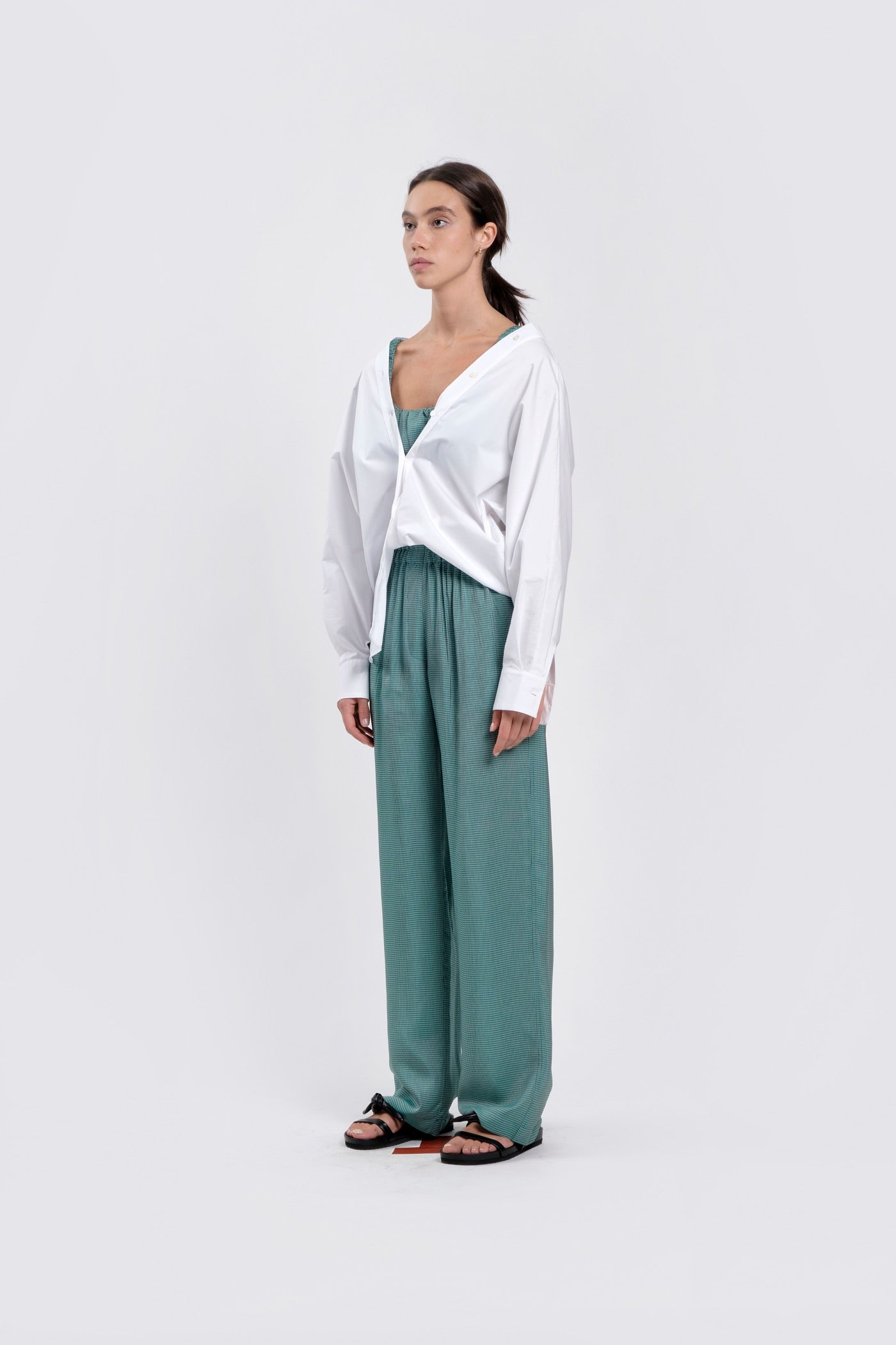 Micro Gingham Emerald Trousers