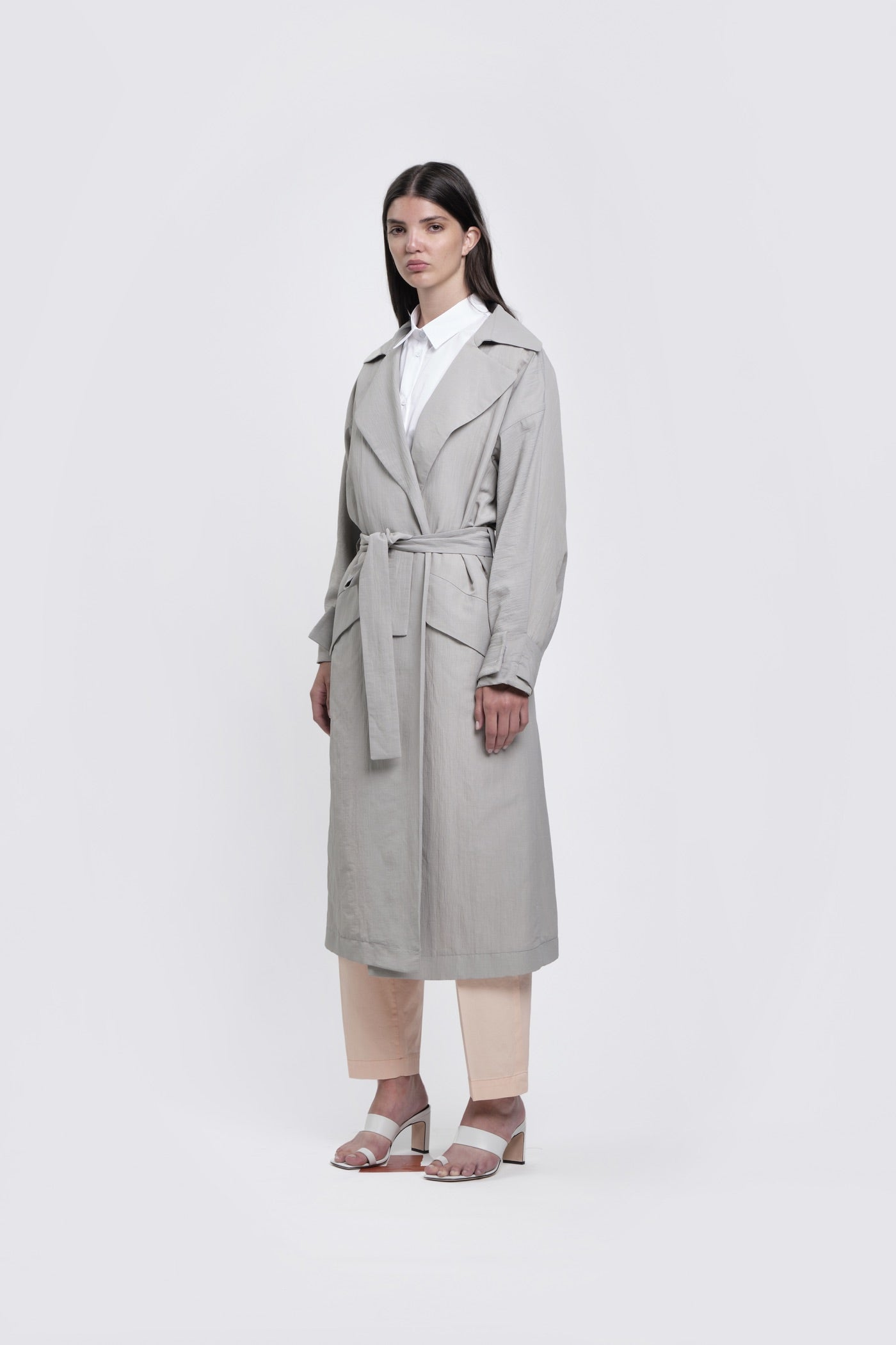 Ice Grey Belted Trench