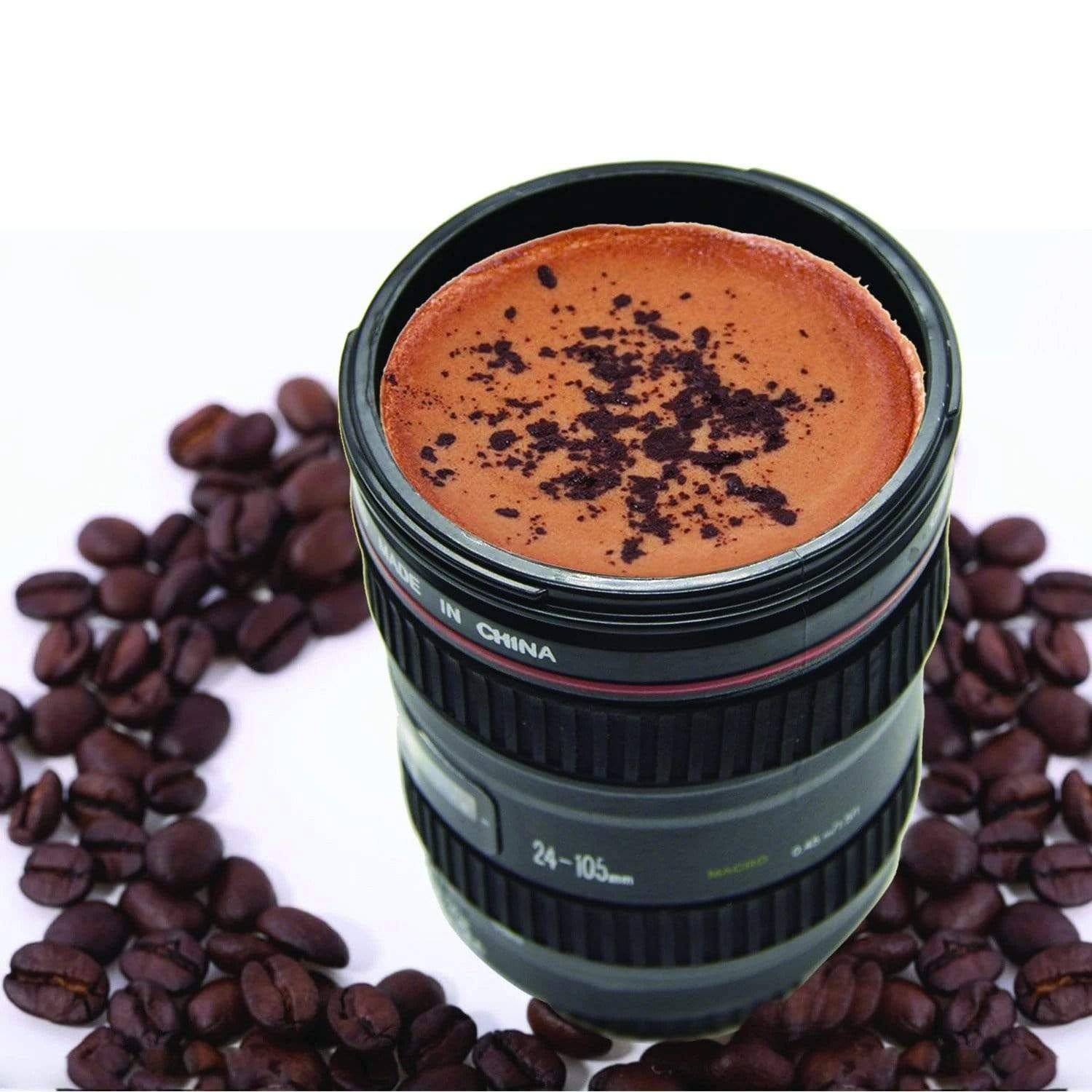 CAMERA LENS SHAPED COFFEE MUG FLASK WITH LID
