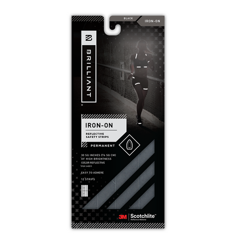 KIT BANDAS REFLECTIVOS IRON-ON NEGRO - Bikexperts