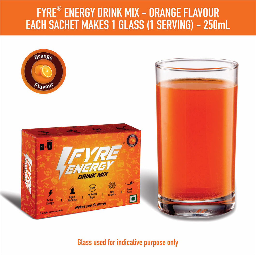 Fyre Energy Drink Mix - Orange Flavour (60 Sachets)
