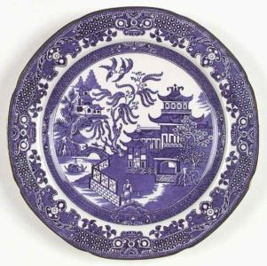 Blue Willow Tiehua printed painting on porcelain plate