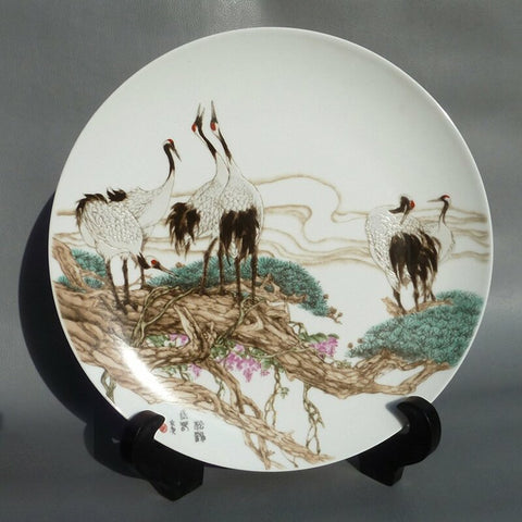 Tiehua printed painting on porcelain plate