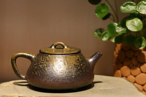 wood fired shipiao style Yixing Teapot with natural ash glaze