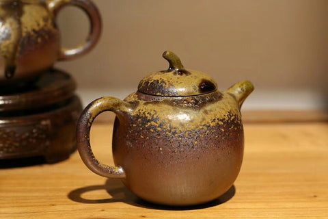 wood fired Yixing teapot with heavy ash glaze