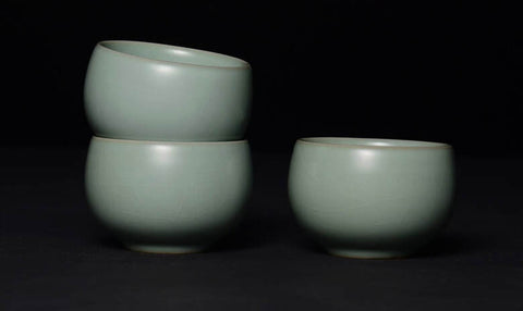 """Factory made """"ruyao"""" stoneware fired at a lower temperature and using ceramic pigment."""