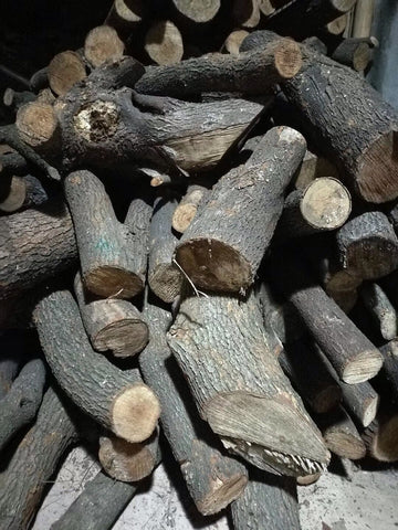 Pine wood is used as fuel for the kiln.