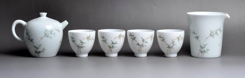 The paintings are between the glazes in this Youzhongcai glazed porcelain teaset from Jingdezhen.
