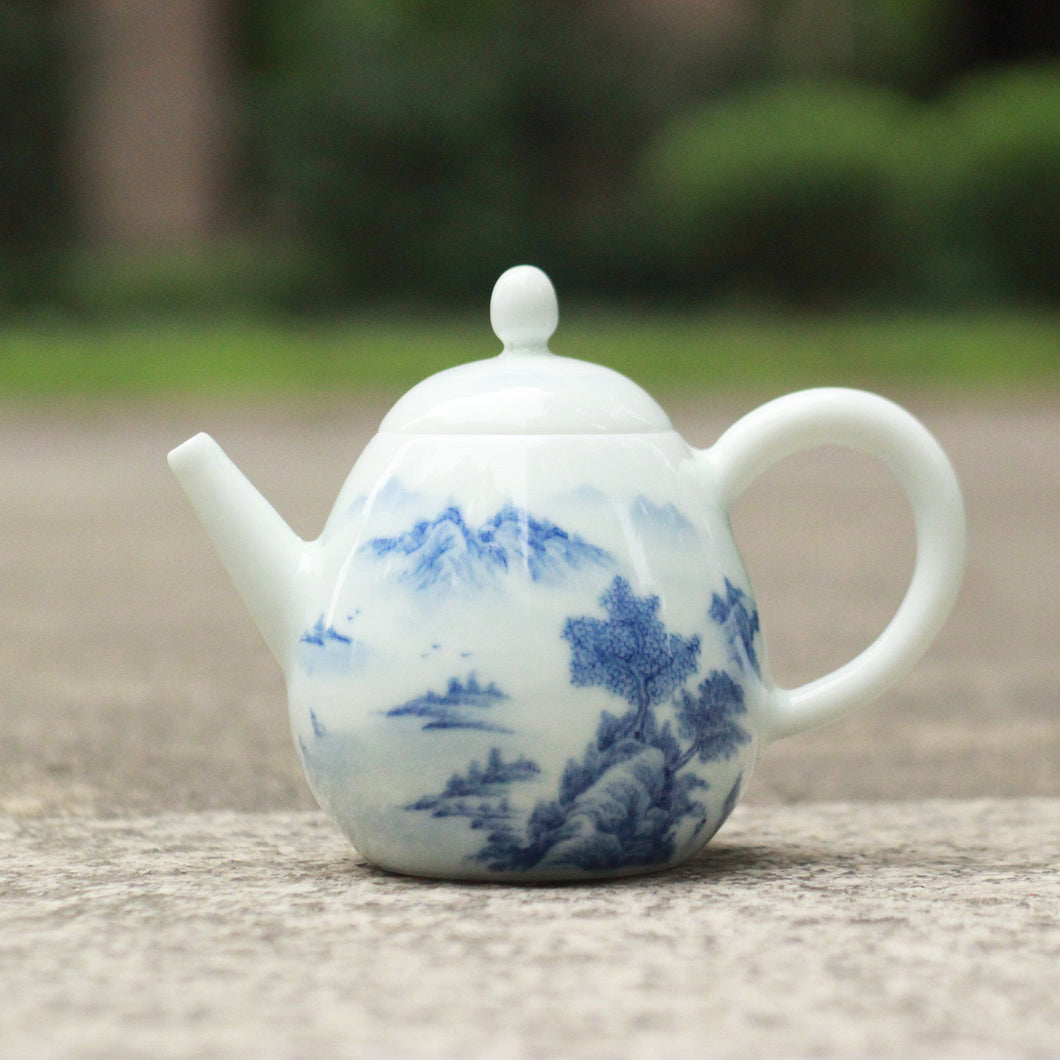 200ml Qinghua Blue and White Painted Jingdezhen Porcelain Teapot