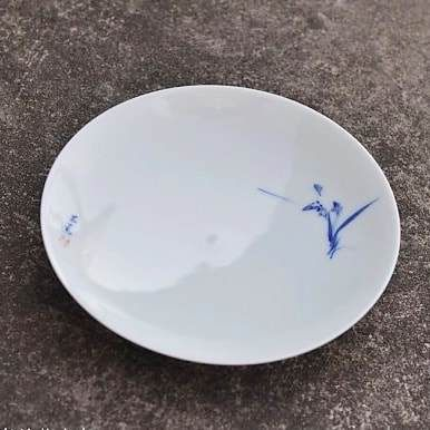 Handmade and painted Qingbai Glaze Blue-and White tea tray (saucer) by Qingkexuan Studio