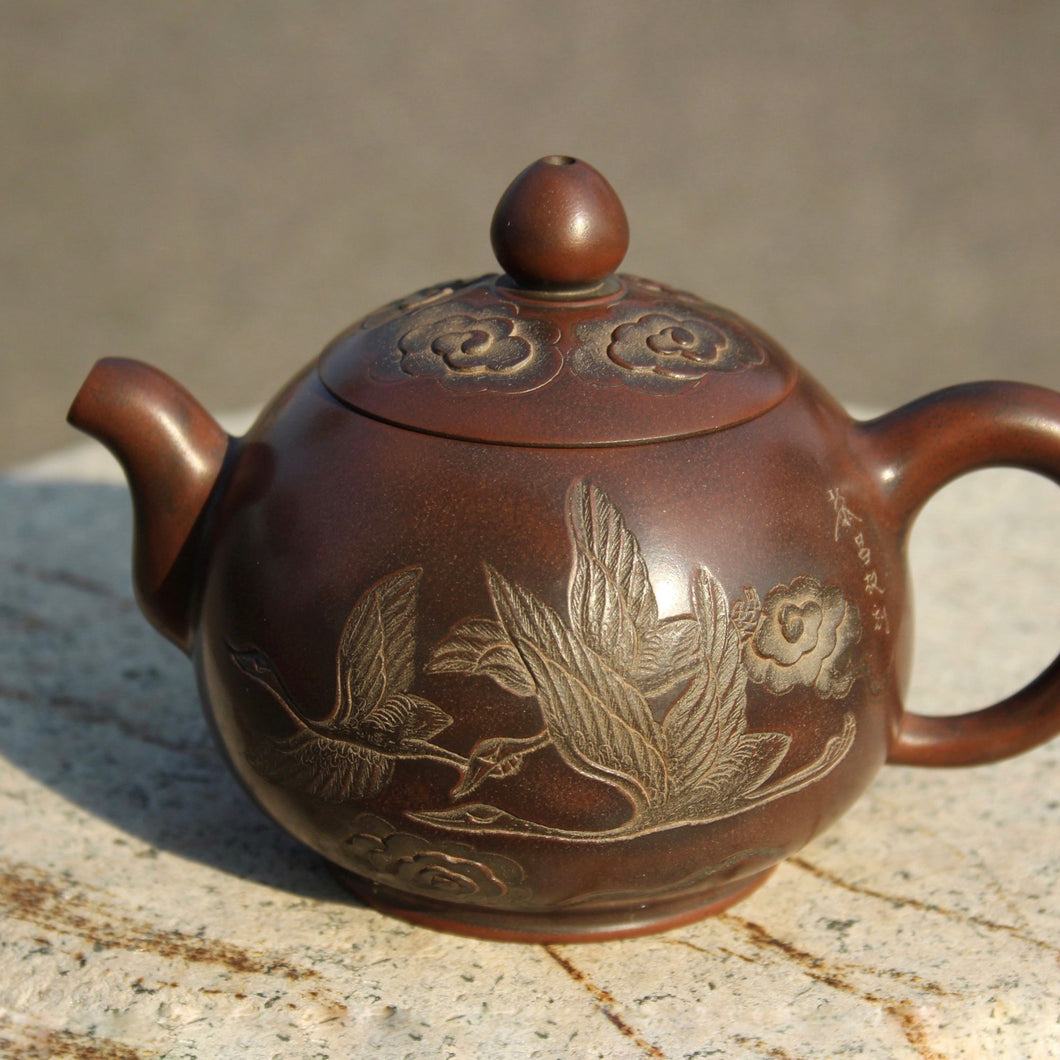 220ml Nixing Teapot with Carvings of Cranes by Li Changquan