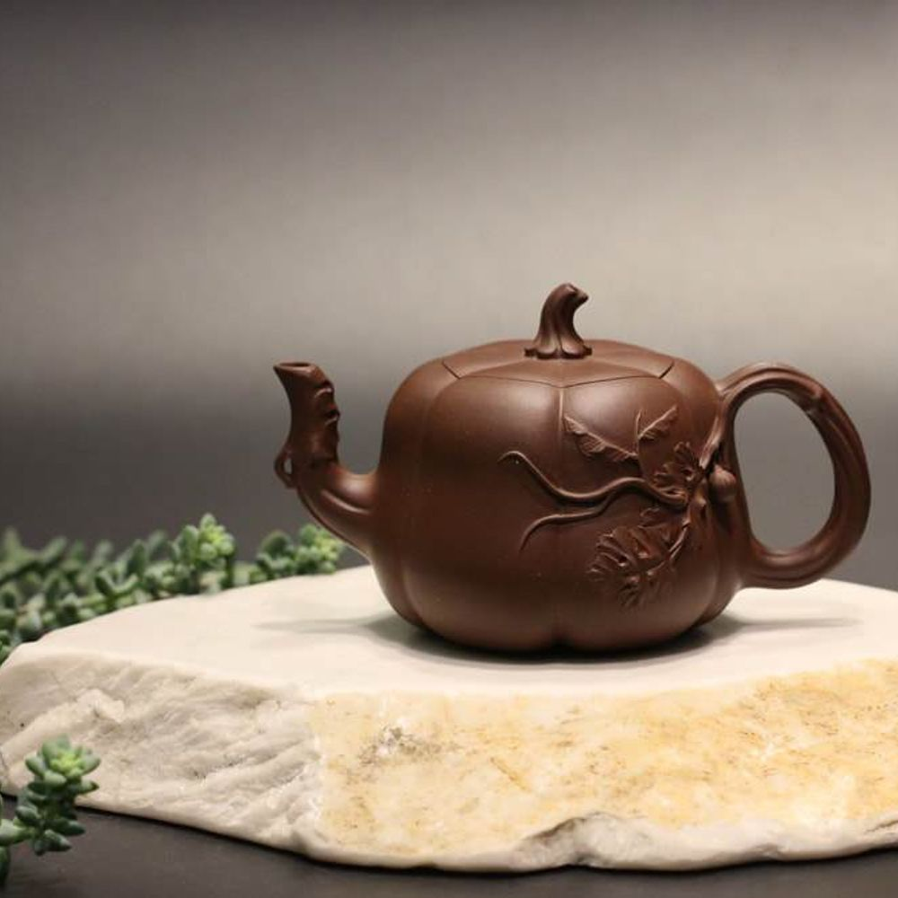 范爱娟作品-全手工南瓜壶四号井底槽青 Fully Handmade Dicaoqing Pumpkin Yixing Teapot by Fan Aijuan, 250ml