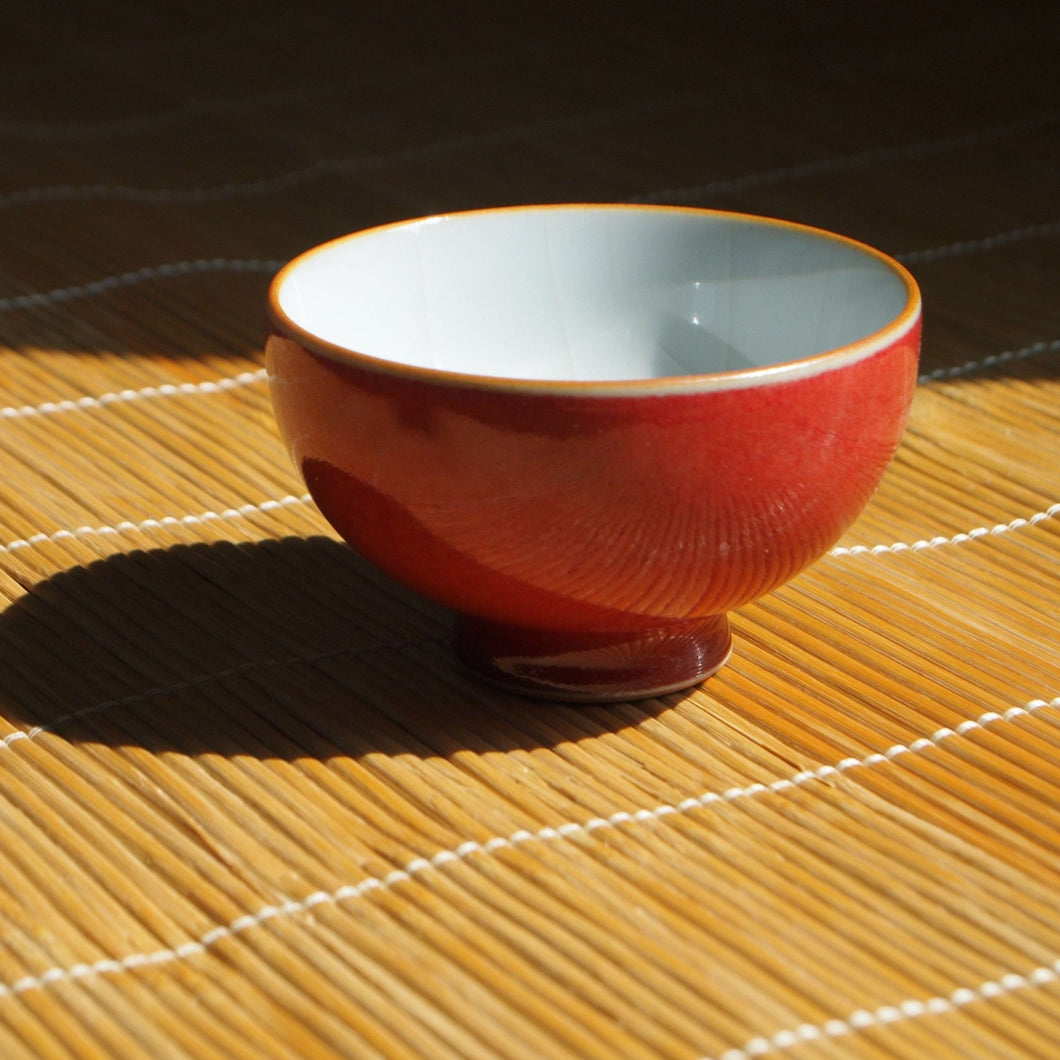 Wide Red Ruyao Tea Cup