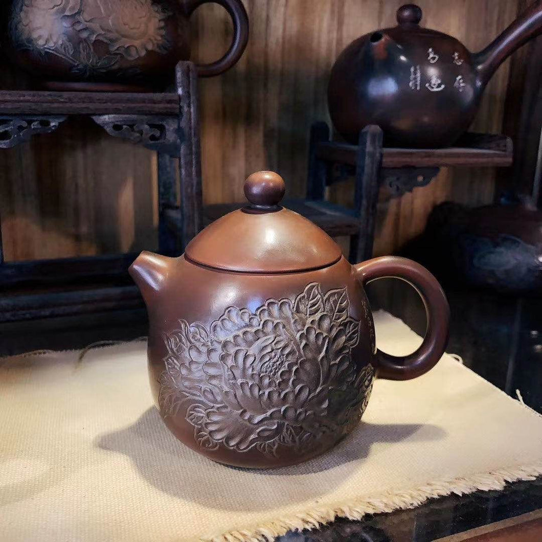 210ml Longdan Nixing Teapot with Peony Carving by Li Changquan and Calligraphy by Qiu Yi Feng