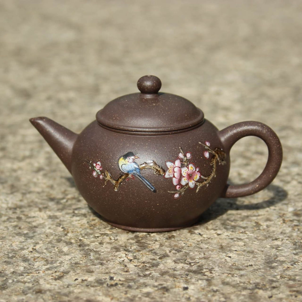 TianQingNi Small Shuiping Yixing Teapot with Diancai Painting, 点彩天青泥小水平壶, 75ml