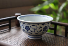 Load image into Gallery viewer, 110ml Flower Pattern Qinghua Jingdezhen Porcelain Wide Teacups