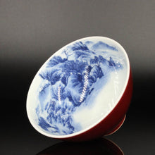 Load image into Gallery viewer, 100ml Jihong Glaze Qinghua Porcelain The World in a Cup, Chicken Heart Teacup 青花霁红国画杯