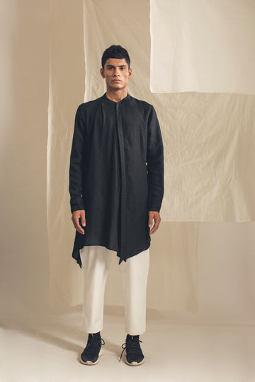 Relaxed Fit Trousers with belted waistband-Antar-Agni