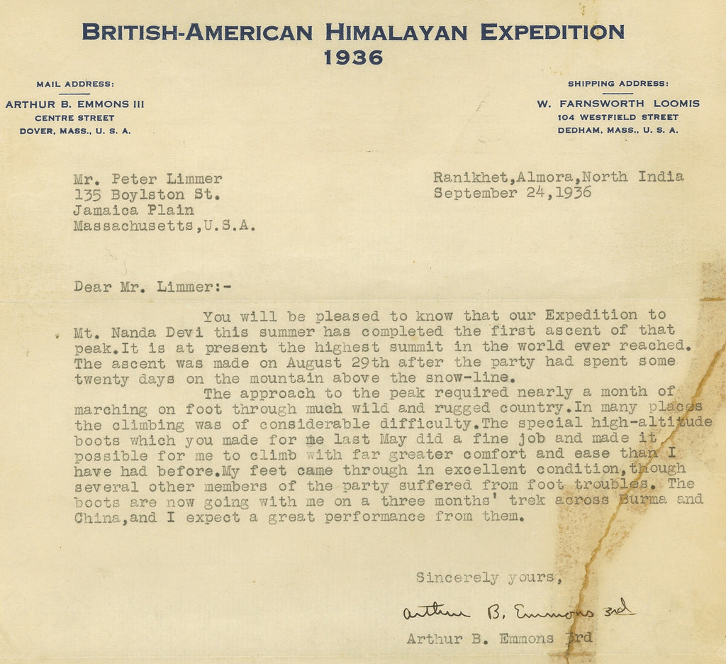 1936 British-American Himalayan Expedition - Arthur B. Emmons III - Limmer Custom Boots Peter Limmer & Sons Nepal Hiking in Nepal