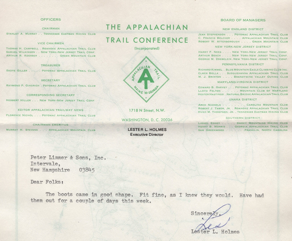 Lester Holmes Executive Director Appalachian Trail Conference Wearer of Limmer Hiking Boots Perfect Fitting Hiking Boots