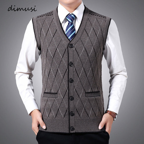 DIMUSI Winter Men's Sleeveless Vests Warm Jumper Knitted Waistcoats Casual Men Slim Fit Pullovers Sweater Vest Jackets Clothing