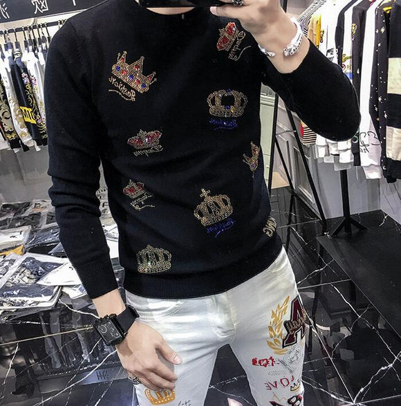 European style hot diamond crown sweater men's fashion brand personality autumn winter men's long sleeve bottoming sweater