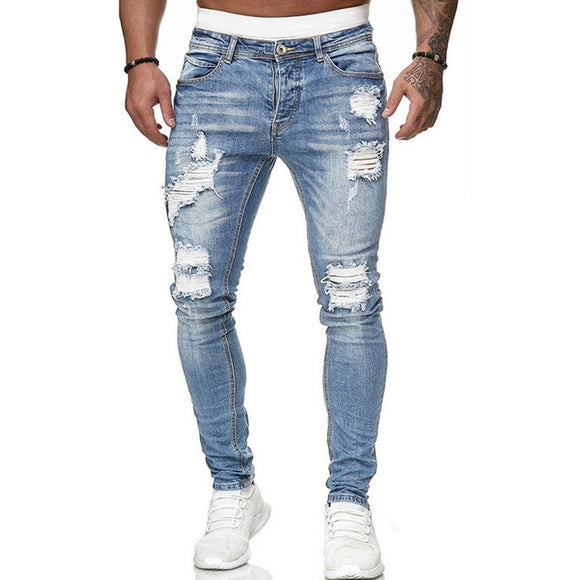 Adisputent Men's Sweatpants Sexy Hole Jeans Pants Casual Summer Autumn Male Ripped Skinny Trousers Slim Biker Outwears Pants