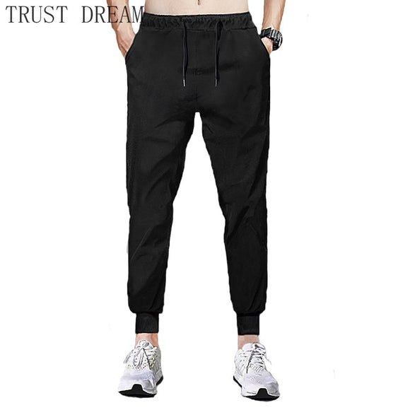 New Men's Jogger Pants Slim Black Male Casual Fit Sweatpants Streetwear Home Basic Sweater Trousers Soft Breathable Clothing