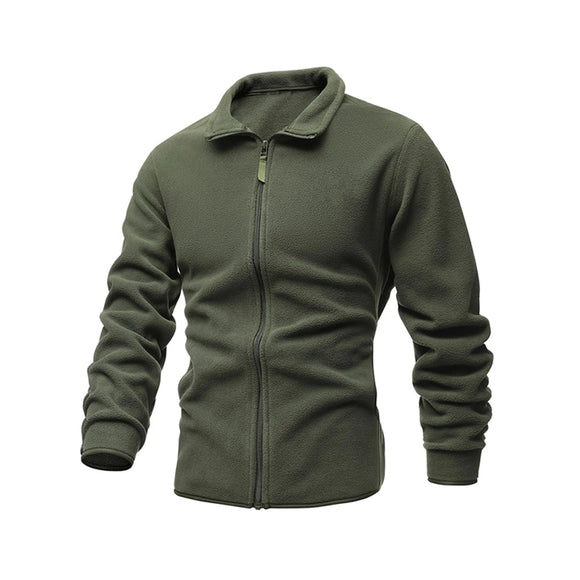 Men's Jacket Slim Double-Faced Fleece Tactical Sweater Casual Turn-Down Collar Zipper Solid Color Jacket Male Warm Winter Coat