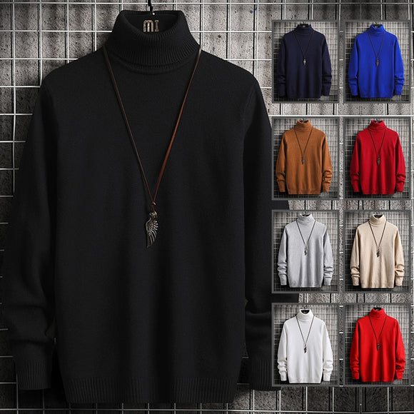 Pure Color 8 Colors High Neck Sweater Long Sleeve Pullover Men's Sweater Thin Section Handsome Charming Temperament Fragrance