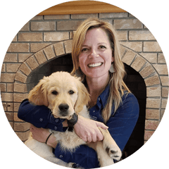 Photo of team member Suzanna Hedges, and her dog Shamus