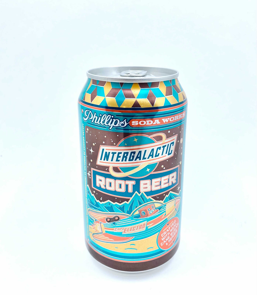 Can of Phillips Soda Works captain electros intergalactic root beer