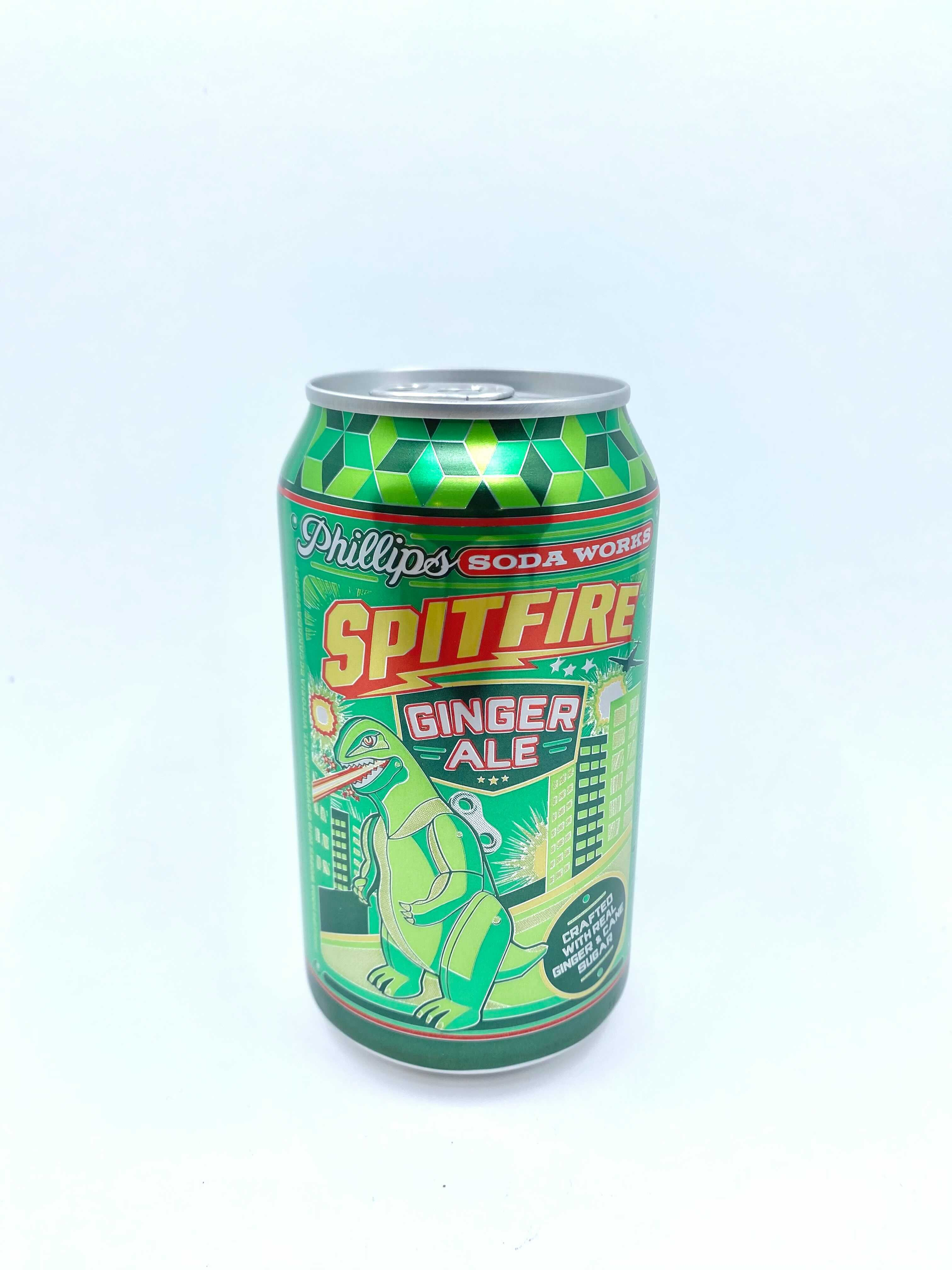 Can of Phillips Soda Works spitfire ginger ale