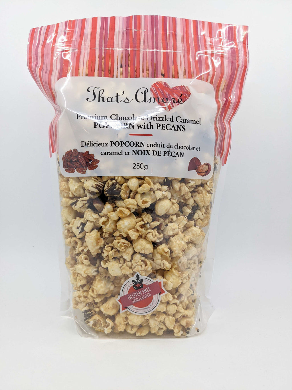 Bag of That's Amoré Pecan, Caramel, chocolate Drizzled Popcorn