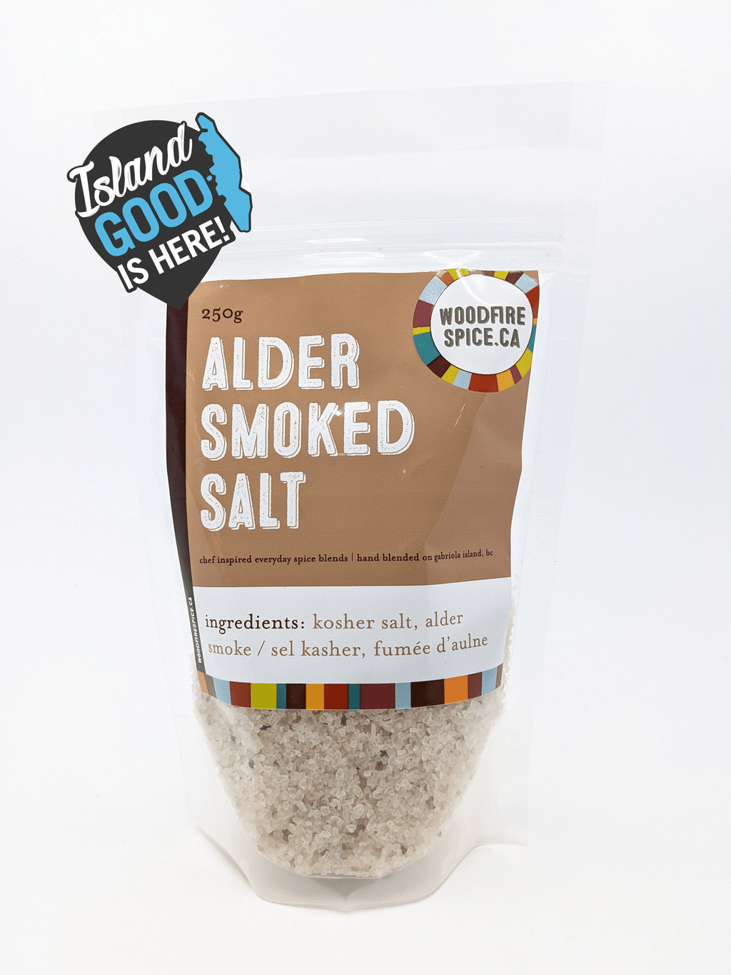 Package of Alder Smoked Salt with Island Good logo