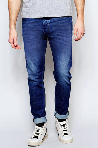 Whisker Wash Blue Denim - Slim Fit