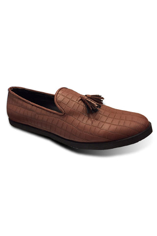 Brown Texture Leather Shoes