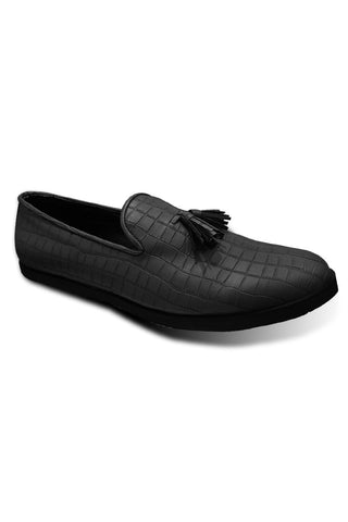 Black Texture Leather Shoes
