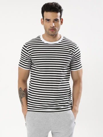 WHITE BLACK STRIPES TSHIRT
