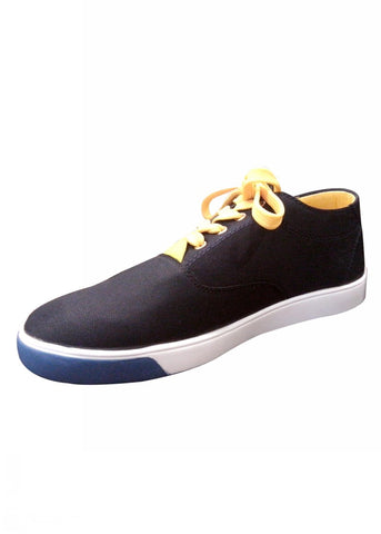 Black Canvas Shoes With Yellow Lace