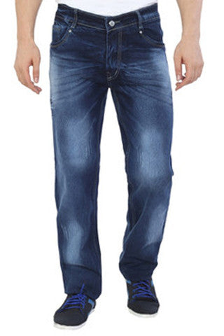 Mid Wash Dark Blue Jeans - Regular Fit