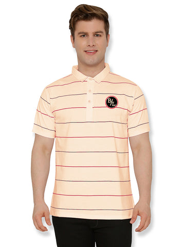 Casual Stripes Polo T-shirt Yellow
