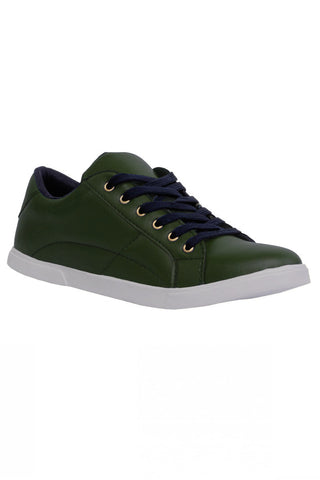 Olive Green Leather Lace shoes