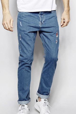 Stone Wash Denim Blue Jeans