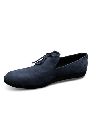 Blue Suede Knot Loafers