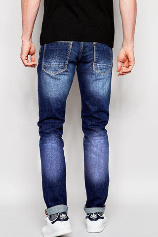 Whisker Wash Deep Blue Denim - Slim Fit