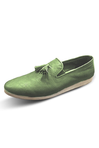 Olive Leather Loafers