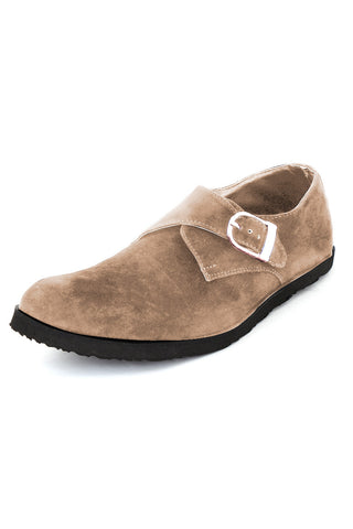 Monk Strap Suede Shoes- Tan