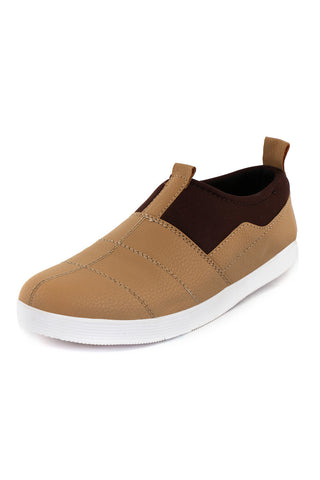 Dual Patterned Slip on shoes - Tan